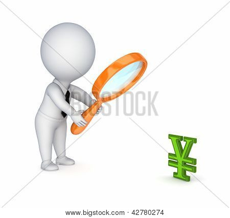 3d small person with a loupe and yen symbol.