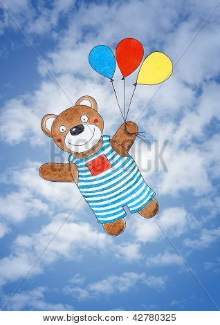 Happy teddy bear, child's drawing watercolor painting over sky
