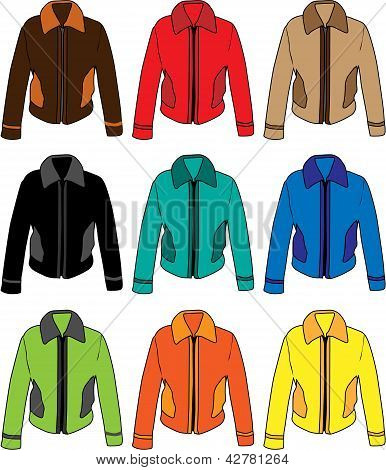 Set of four men's warm training jackets.