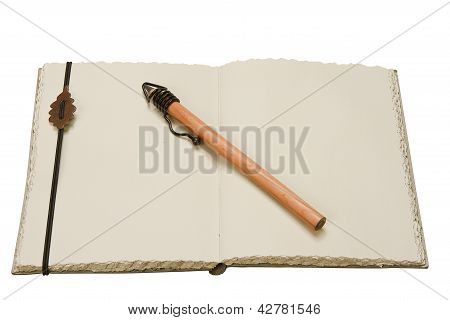 Notebook And Pencil In Ancient Style