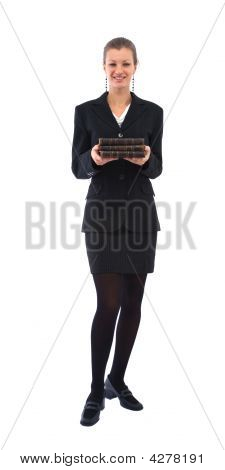 Businesswoman With Old Books