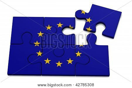 Puzzle with Europian Union flag 3d