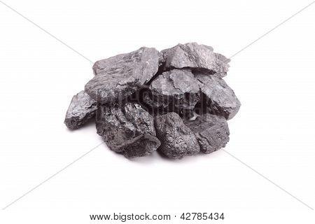 Coal on white