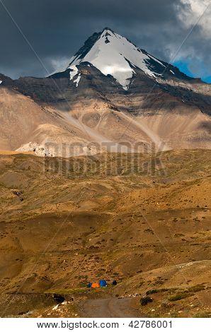 Himalayan Mountain With Camps