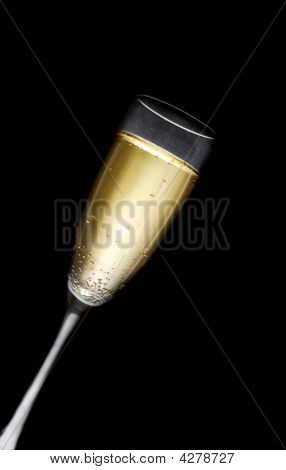 Champagne Glass Against Black