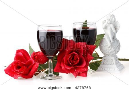 Two Glasses Of Wine, Rose And Cupid