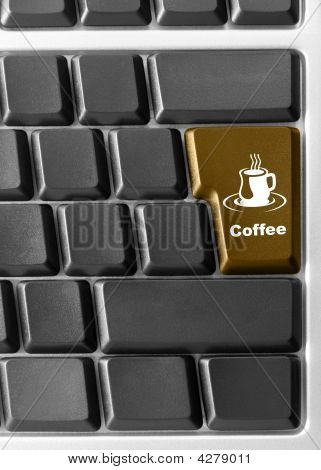 "Computer Keyboard With Red ""coffee"" Key"