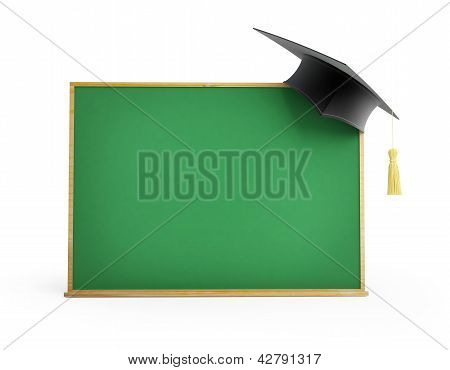 Blackboard, Chalkboard, Graduation Cap 3D Illustrations On A White Background