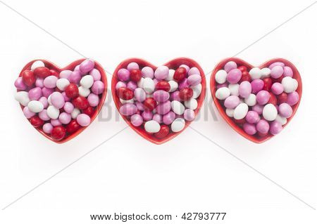 Three Heart Shaped Candy Dishes