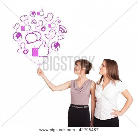 Happy young ladies holding social icon balloon