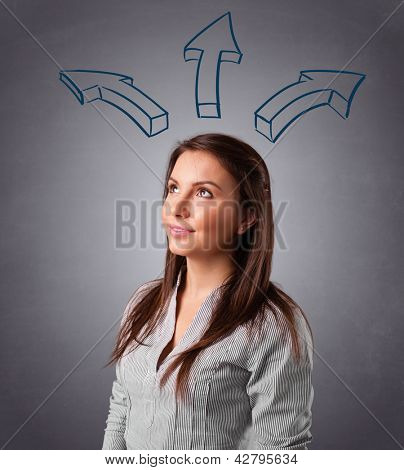 Beautiful young lady thinking with arrows overhead