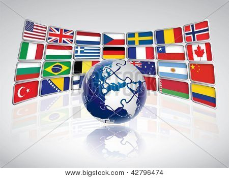 Puzzle world concept with national flags on screens. Editable vector format.