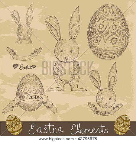 Vintage Happy Easter Elements Set
