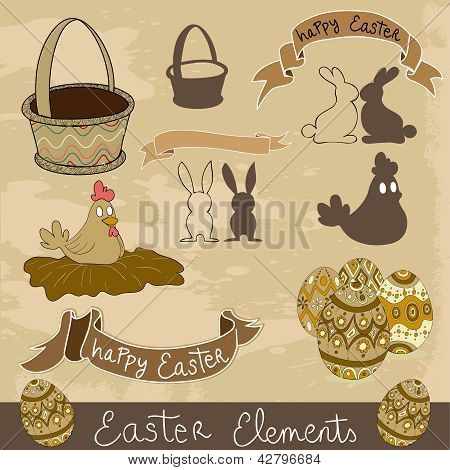 Happy Easter Elements Set