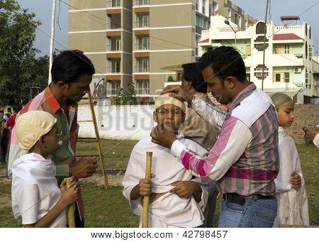 School Children Dressing Up As Gandhi