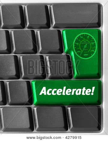 "Computer Keyboard,  With Green ""accelerate"" Key"