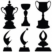 Vector Illustration Of Trophies
