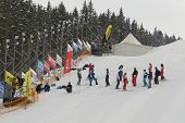 BUKOVEL, UKRAINE - FEBRUARY 23: Female competitors at the start of aerial skiing during Freestyle Sk