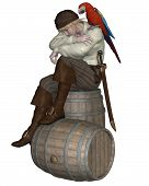 stock photo of shoulder-blade  - Young pirate sitting on a barrel with a parrot on his shoulder - JPG