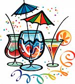 stock photo of alcoholic beverage  - Vivid and colorful cocktails with paper umbrellas - JPG