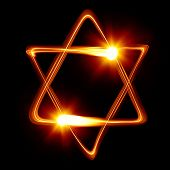 stock photo of purim  - Star of David created by light - JPG