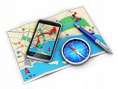 stock photo of compass  - Mobile GPS navigation - JPG