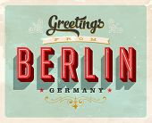 Vintage Touristic Greeting Card - Berlin, Germany - Vector EPS10. Grunge effects can be easily remov