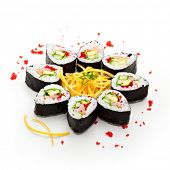 Maki Sushi made of Cucumber, Prawn (ebi), Avocado, Salad Leaf and Tobiko (flying fish roe) inside. N