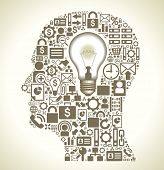 the silhouette of a human head with a lamp and small business icons