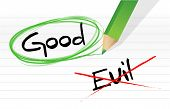 stock photo of good-vs-evil  - good vs evil illustration design graphic over a notepad paper - JPG