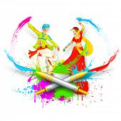 stock photo of radha  - illustration of couple playing Holi with color and pichkari - JPG