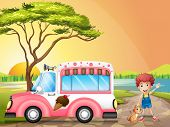 foto of ice-cream truck  - Illustration of a boy with a cat beside an icecream truck - JPG