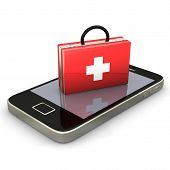 image of personal safety  - First aid case with smartphone on the white background - JPG