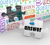 stock photo of understanding  - The word Answer on a puzzle piece to symbolize the quest for understanding in answering questions and concerns - JPG