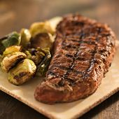 image of braai  - grilled steak with brussel sprouts - JPG