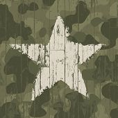 stock photo of camo  - Military camouflage background with star - JPG