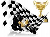 Постер, плакат: Мотоцикл гонщик