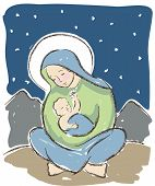 stock photo of mary  - Virgin Mary holding baby Jesus illustrated in a loose artistic style - JPG