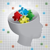 image of aspergers  - Profiled head of a child with symbolic autism puzzle pieces - JPG