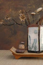 image of raku  - zen still life with raku vase - JPG
