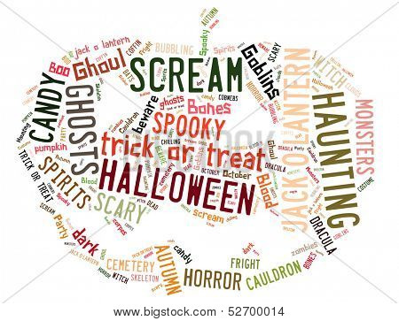 Word Cloud showing words dealing with Halloween in the shape of a jack-o-lantern on a white background