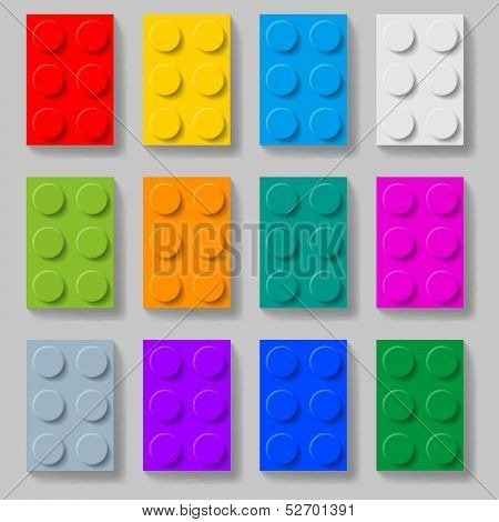 Plastic construction kit blocks.