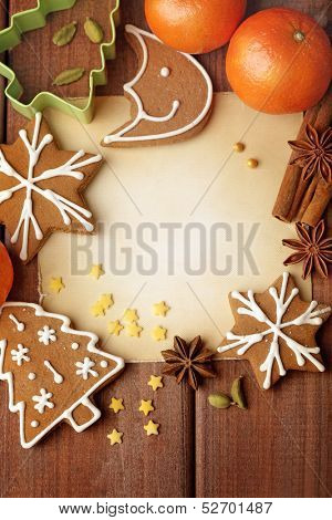 Blank note for recipes of christmas cookies or christmas greeting card