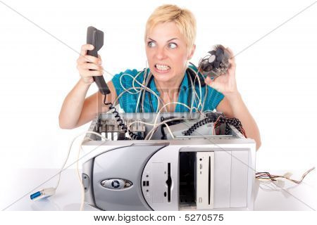 Woman Lost In Technology
