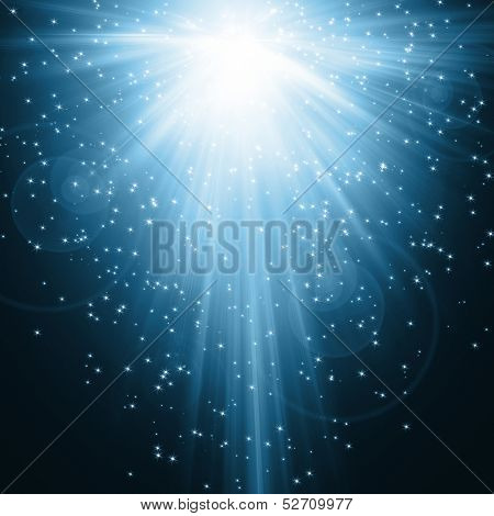 snowflakes , stars and waves blue descending background