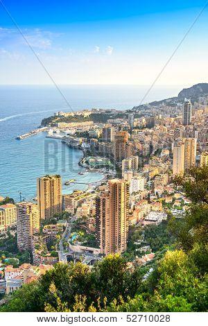 Monaco Montecarlo Principality Aerial View. Azure Coast. France
