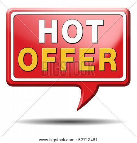 hot offer icon or sign for online internet web shop concept. Webshop shopping sales button announcing bargain for low and best price with the best value for you money.