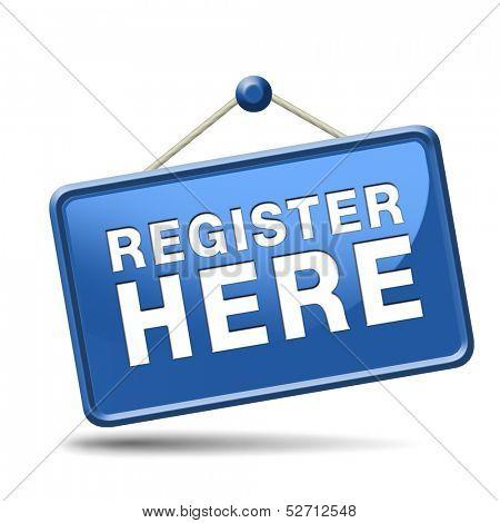 register here en no sign or icon. Membership registration sticker.
