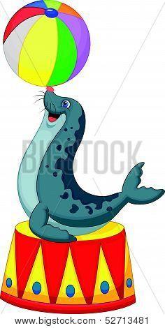 Cartoon Circus seal playing a ball