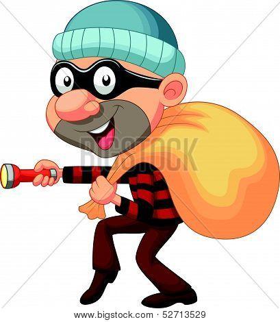 Thief cartoon with sack of money